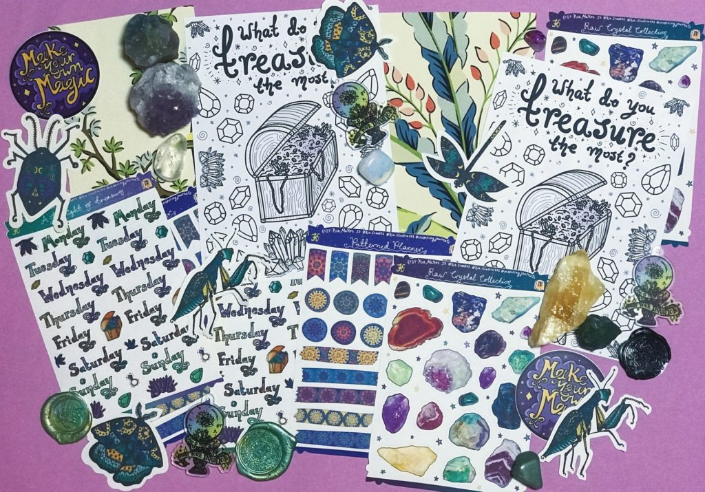 The Jewels of June Journal Club subscription membership - Kia Creates - Journal Stickers, Sticker Sheets and themed art journaling supplies