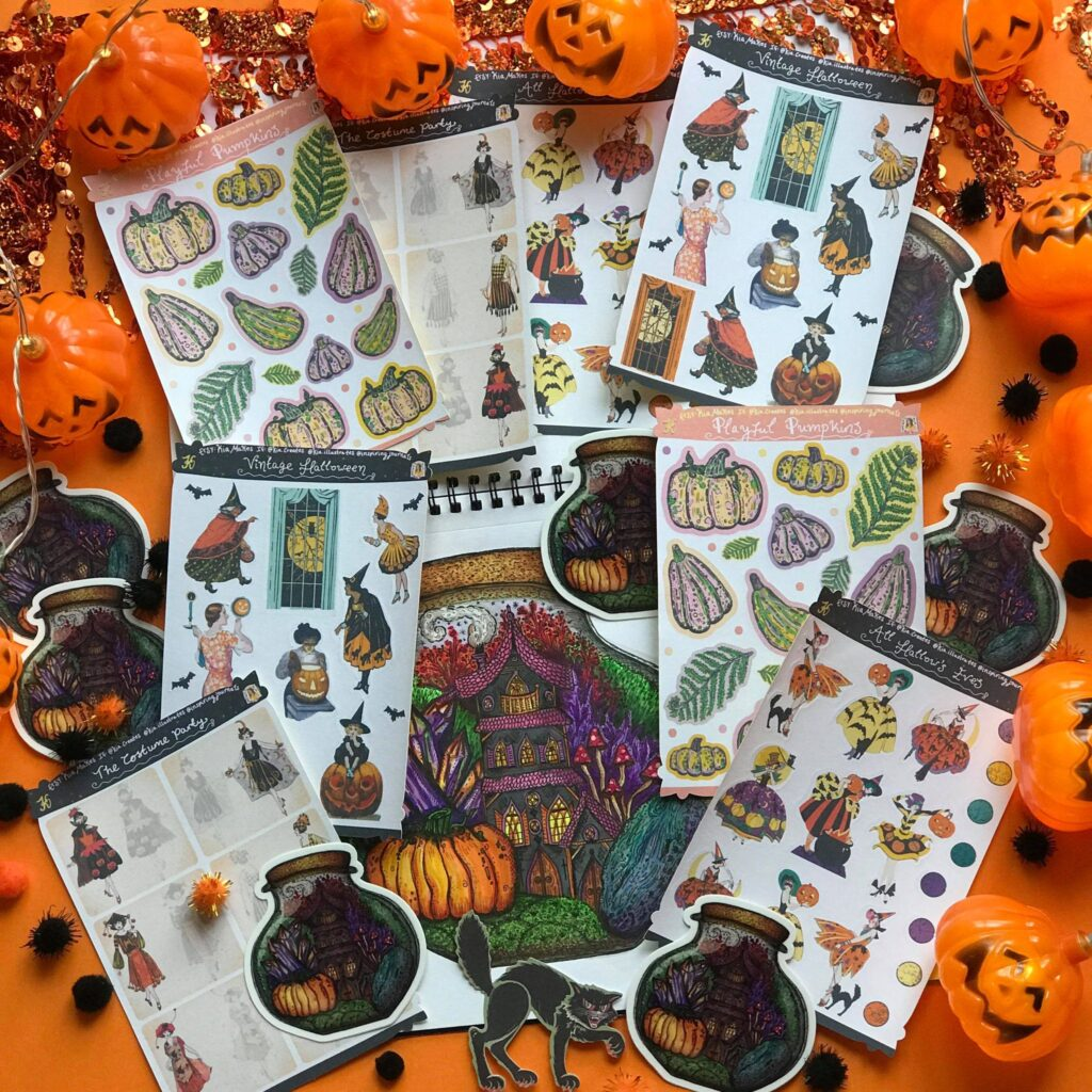 Halloween Sticker Kit for September's Spooky Sticker Special Journal Club subscription membership - Kia Creates - Journal Stickers, Sticker Sheets and themed art journaling supplies